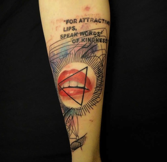 """For Attractive Lips, Speaks Words Of Kindness"" Tattoo"