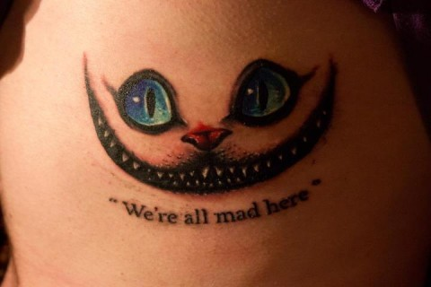 we 39 re all mad here alice in wonderland tattoo quotes. Black Bedroom Furniture Sets. Home Design Ideas