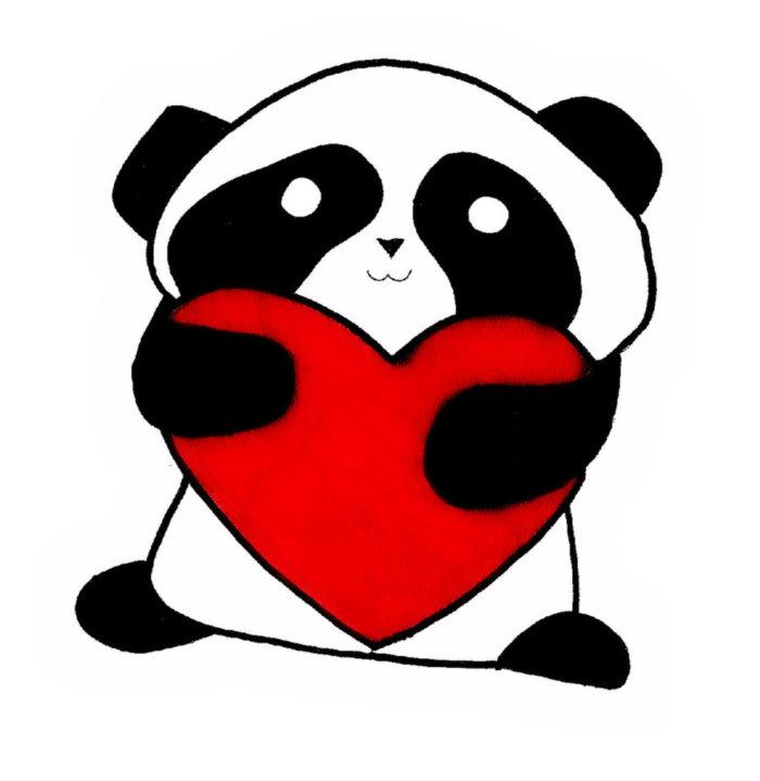 Cute Panda Love Cartoon