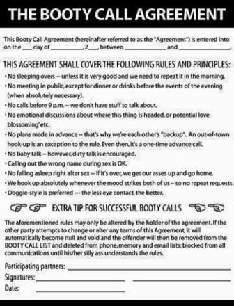 booty call agreement