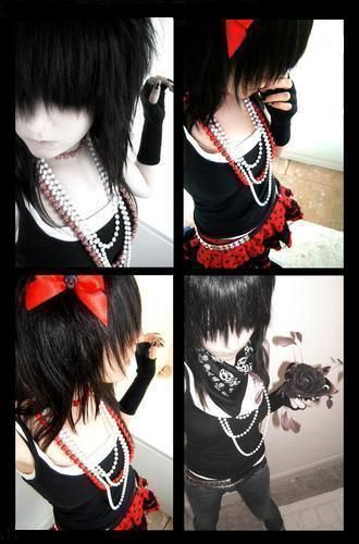 emo girl red bow    emo    myniceprofile com